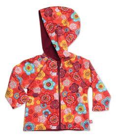 Zutano Baby-Girls Infant Doily Floral Reversible Zip Hooded Sweatshirt, Mandarin, 6 Months - Travel Bag & Baggage.com