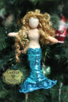 Needle-felted and hand-stitched Mermaid Leonara. Waldorf Season Table, Table-Top Puppet needle-felted doll.