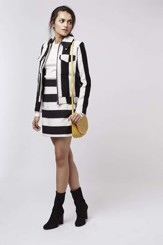 Stripe Wool Mix Jacket and A-Line Skirt - Topshop