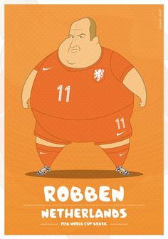 Colombia-based illustrator Fulvio Obregon has created a series of illustrations, in which he imagined World Cup soccer players as. Fat Football Player, Best Football Players, Football Is Life, Football Art, World Football, Soccer Players, Neymar, Messi, Cristiano Ronaldo