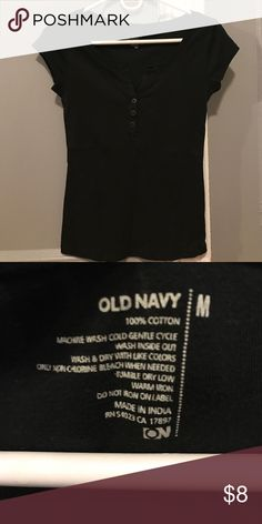 Old Navy Black 3 button T-Shirt - Never Worn! Old Navy black 3 button T-shirt.  Never worn.  Size M Old Navy Tops Tees - Short Sleeve