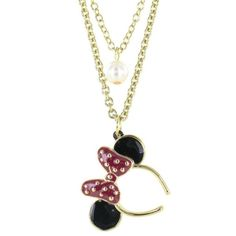 Disney Couture Mawi Minnie Mouse Bow Necklace ❤ liked on Polyvore featuring jewelry, necklaces, accessories, disney, colares, pearl pendant, red pearl necklace, bow necklaces, red pendant and pendant necklace