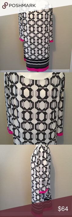 """Eliza J Jersey Shift Dress Plus Size 22W NWT New w/ Tag.  Matte-jersey shift dress Boat neck Elbow-length sleeves Stretch-knit fabric Exposed back zip Allover geometric print with colorblock crepe hem Fully lined  22WBust: 52"""" round Waist: 47"""" round Hips: 55"""" round Eliza J Dresses Midi"""