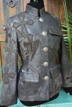grey leather stud cross jacket