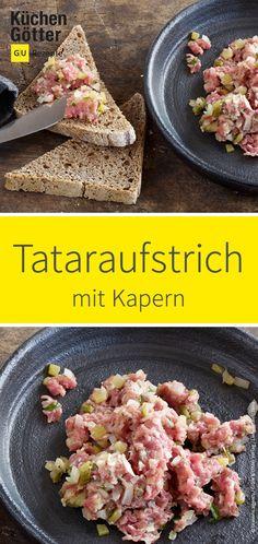 Tatar mal anders: wir verfeinern das edle Gericht mit Kapern, Sardellen und Schalotten. Vor dem Servieren wird der pikante Aufstrich mit etwas Kresse garniert. Ceviche, Grill Pan, Dips, Grilling, Lunch, Beef, Breakfast, Pesto, Food
