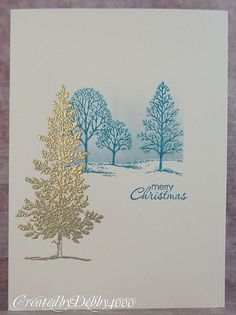 A Scrapjourney: Stampin up. Lovely as a Tree stamp set. Homemade Christmas Cards, Christmas Cards To Make, Xmas Cards, Homemade Cards, Christmas Photos, Christmas Trees, Embossed Christmas Cards, Merry Christmas, Silver Christmas