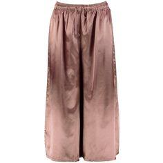 Boohoo Behati Satin Drawcord Waist Wide Leg Cropped Trousers | Boohoo (280.370 IDR) ❤ liked on Polyvore featuring pants, capris, wide leg trousers, cropped capri pants, brown pants, wide leg pants and satin pants