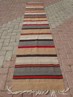VINTAGE Turkish Kilim Antalya Striped Organic Rug Runner Carpet  Grey Brown 23 X 116  INCHES - 58 X 295 CM