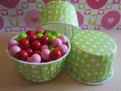 24 Lime Green Polka Dot Candy Baking Nut Cup by DKDeleKtables, $5.75