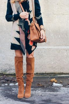 casual black dress, aztec cardigan, over the knee boots — via @TheFoxandShe