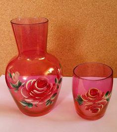 Vtg Handpainted Glass Bedside Water Carafe Decanter Cup Set Roses Ruby Red B&B | Home & Garden, Kitchen, Dining & Bar, Glassware | eBay!