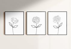 Floral Print & Botanical Print   Minimalist Line Art, Set of 3 Wall Art   one line drawing, flower wall art, black and white prints download by SmallMiraclePrints on Etsy