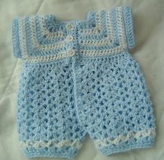 0029A PREEMIE Baby Boy Sailor Pattern Romper by CARUSSDESIGNZ