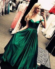 Dark Green Long Satin V-neck Evening Dresses Off-the-Shoulder Prom Dresses 2018 M2899