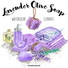 Lavender Soap Cliparts  digital printable by WatercolorMarket