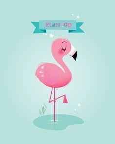 Flamingo print Girl nursery wall art by IreneGoughPrints on Etsy