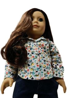 American Girl Doll Clothes Long Sleeve Button Up by 18Boutique