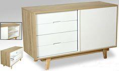 comoda vintage en madera blanco y roble, en www.virginia-esber.es