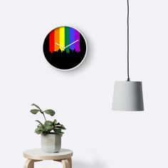 Gay pride rainbow flag dripping paint themed wall clock from Ricaso