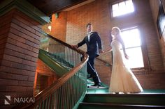 Creative fun photo in Cafe Brauer. Located in Chicago's Lincoln Park. Stairs with an Art Deco feel- Picture by Chicago Wedding Photographer: Nakai Photography http://www.nakaiphotography.com