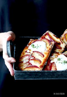 nectarine tart with thyme, honey and goat cheese cream