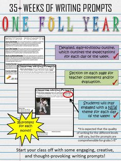 Start your class off with some engaging, creative and thought-provoking writing prompts! This FULL YEAR (35+ weeks) of writing prompts are a great way to establish routine in your classroom. Each page includes a section for teacher evaluation/comments, each day has a different topic, and each month has a new theme for the daily topic.