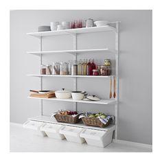 IKEA - ALGOT, Wandrail/plank/haak, De onderdelen van de ALGOT serie kunnen op diverse manieren worden gecombineerd en zijn daardoor eenvoudig aan te passen aan de behoefte en de ruimte.De consoles, planken en acccessoires hoef je alleen maar op hun plaats te klikken. Daardoor is het heel eenvoudig om je opbergoplossing te monteren, aan te passen en te veranderen.Geschikt voor gebruik in het hele huis, zelfs in vochtige ruimtes zoals de badkamer of op overdekte balkons.Ook te gebruiken in de…