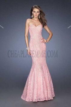 Affordable Cotton Candy Pink Long Lace Mermaid Prom Gown By La Femme 20047