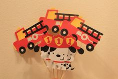 Set of 24 fire truck Dalmatian dog centerpiece fire party on Etsy, $40.00