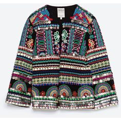 Zara Embroidered Jacket (2.590 ARS) ❤ liked on Polyvore featuring outerwear, jackets, coats, black, fleece-lined jackets, embroidery jackets, zara jackets and embroidered jacket