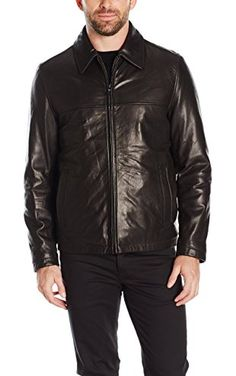 Tommy Hilfiger Men's Smooth Lamb Leather Laydown Collar James Dean Jacket, Black, S ❤ Tommy Hilfiger Men's Outerwear