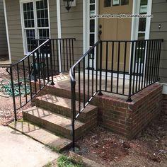 Extraordinary measure deck stair railing height just on smart homefi design - Popular Porch Railing Kits, Wrought Iron Porch Railings, Exterior Stair Railing, Outdoor Stair Railing, Patio Stairs, Front Stairs, Porch Awning, Staircase Railings, Railing Ideas