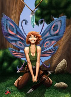 Cute Pixie ... butterfly-winged fairy looking at a crystal ... by ~LRCommissions on deviantART