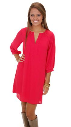 Classic Tunic Dress, Red :: NEW ARRIVALS :: The Blue Door Boutique
