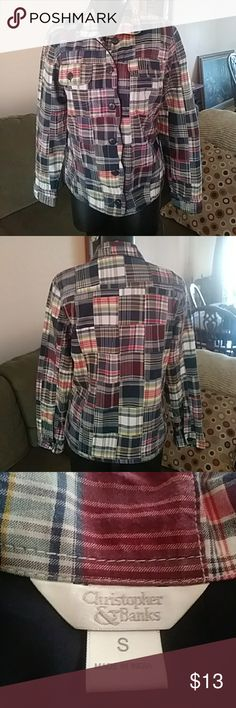 Christopher and Banks Patchwork Jacket Christopher and Banks Patchwork Button-Down Jacket. Size small. Great for those cool evenings. Christopher & Banks Other