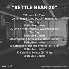 2 Rounds for Time: 20 Kettlebell Sumo Deadlift High Pulls (24/16 kg); 20 Double-Unders; 20 Single-Arm Overhead Walking Lunges (24/16 kg); 20 Double-Unders; 20 Alternating Kettlebell Snatches (24/16); 20 Double-Unders; 20 Kettlebell Clean-and-Presses (24/16 kg); 20 Double-Unders; 20 Kettlebell Swings (24/16 kg); 20 Double-Unders