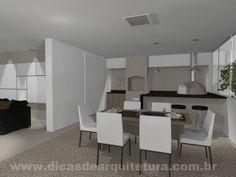 Projeto de sala com área gourmet. http://dicasdearquitetura.com.br/sala-com-area-gourmet/