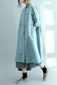 Blue Long Cotton Shirts for Women 3 4 Sleeve Loose Shirt Linen Dresses, Casual Dresses, Casual Outfits, Loose Shirts, Cotton Shirts, Modest Fashion, Fashion Outfits, Moda Chic, Women Sleeve