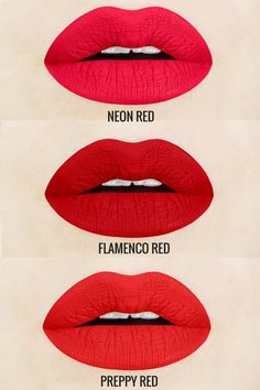 Red Liquid Lipstick Shades Everyone Needs! Neon Red is a magenta red, flamenco red is a true, retro red, and preppy red is a warm red. Each shade is vegan and cruelty-free, light-weight, non-drying, gluten free, and handcrafted in small batches. red liq