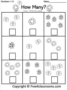 math Count the Cute Insects - Free Math Worksheet for kindergarten and preschool. Get ready for kindergarten by practicing counting and writing numbers up to 7 with this free worksheet. Numbers Preschool, Free Preschool, Free Math, Preschool Learning, In Kindergarten, Teaching, Writing Activities For Preschoolers, Preschool Colors, Preschool Writing