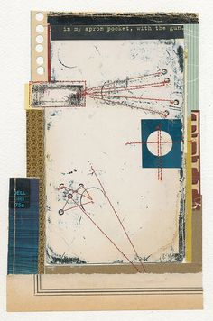 """Melinda Tidwell - in my apron pocket    5.75 x 8.5""""  book covers, thread, glue, on paper"""
