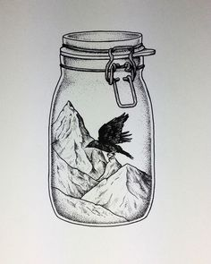 Tattoo design commission. LOVE this idea. Really enjoyed drawing it #tattoo #stippletattoo #pointwork #dotwork #drawing #ink #pen #illustrateordie #illustrate #illustration #bloodandgraphite #blackwork #design #jar #bird #choucas #mountains #onlyblackart