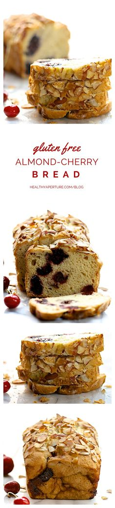 An easy gluten free quick bread recipe featuring fresh sweet cherries — lightly sweetened, it's a wonderful breakfast bread or healthy snack.