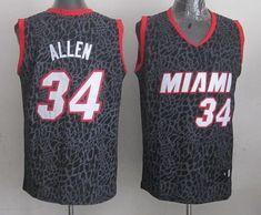 91f02439b52 Heat  34 Ray Allen Black Crazy Light Stitched NBA Jersey