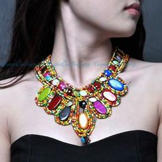 Fashion Black Net Tailor Colorized Resin Beads Ethnic Pendand Bib Y Necklace | eBay