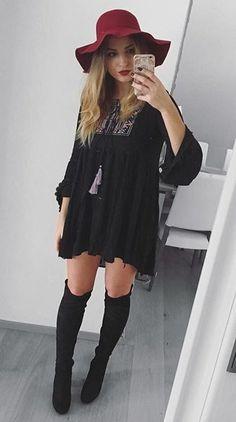 Burgundy Hat + Black Dress