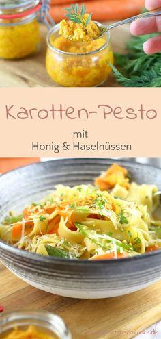 Carrot pesto with honey & hazelnuts ⋆ taste cloud Pesto Dip, Pesto Pasta, Chutneys, Homemade Egg Noodles, Good Food, Yummy Food, Food Tasting, Pesto Recipe, Spring Recipes