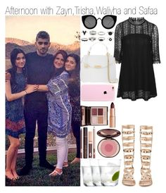 """""""Afternoon with Zayn, Trisha , Waliyha and Safaa"""" by praradise ❤ liked on Polyvore featuring moda, Topshop, Ivy Kirzhner, Quay, Versace y Charlotte Tilbury"""