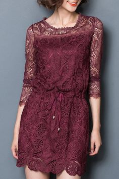 Ladylike Scoop Collar Long Sleeve Hollow Out Solid Color Lace Dress For Women