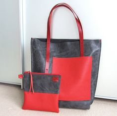 Leather Tote / Shopper  De STIJL  nr.1 in dark grey and red by rinarts